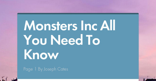 Monsters Inc All You Need To Know