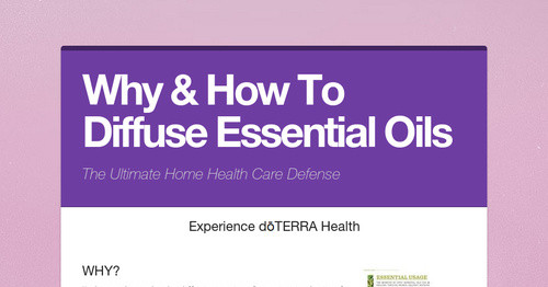 Why & How To Diffuse Essential Oils