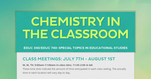 Chemistry in the Classroom