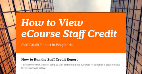 How to View eCourse Staff Credit