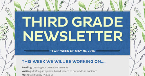 Third Grade Newsletter