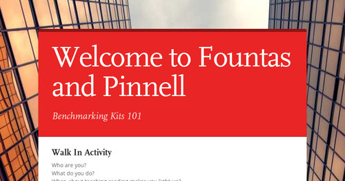 Welcome to Fountas and Pinnell