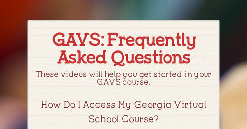 GAVS:  Frequently Asked Questions