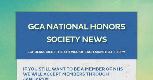 GCA National Honors Society News
