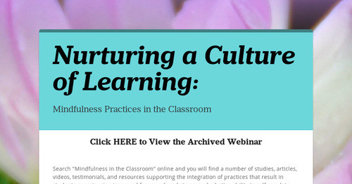 Nurturing a Culture of Learning: