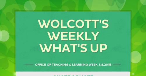 Wolcott's Weekly What's Up