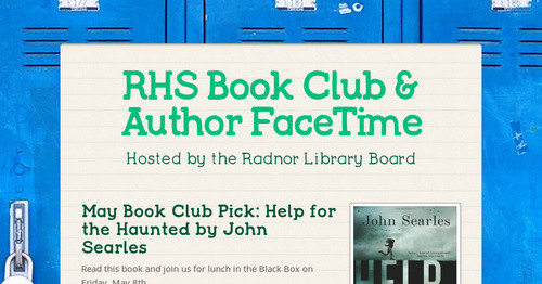 RHS Book Club & Author FaceTime