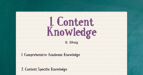 1. Content Knowledge