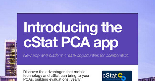Introducing the cStat PCA app
