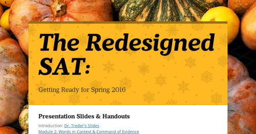 The Redesigned SAT: