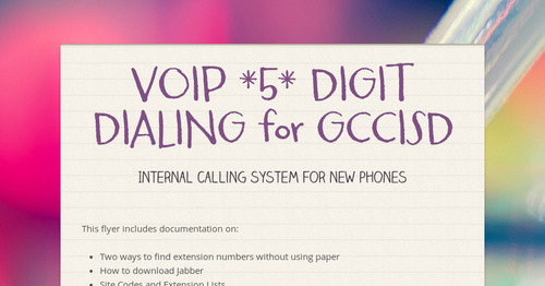 VOIP *5* DIGIT DIALING  for GCCISD