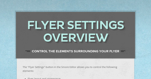 Flyer Settings Overview