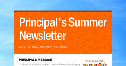 Principal's Summer Newsletter