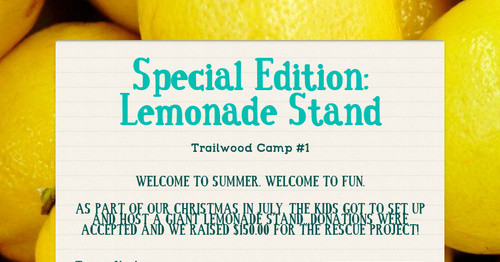 Special Edition: Lemonade Stand