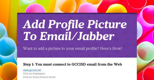 Add Profile Picture To Email/Jabber