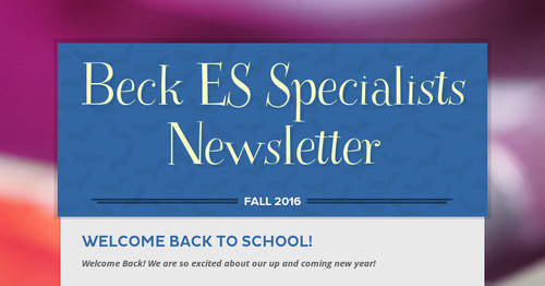 Beck ES Specialists Newsletter