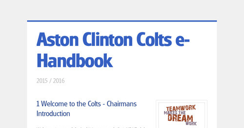 Aston Clinton Colts e-Handbook