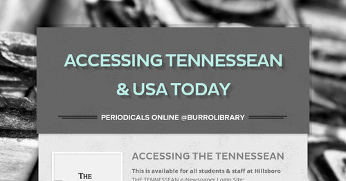 Accessing Tennessean & USA Today