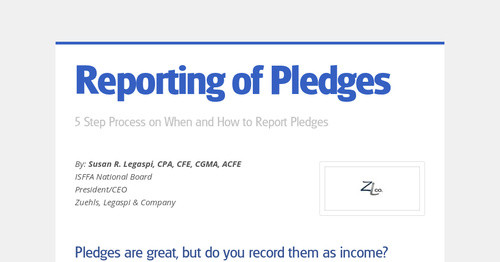 Reporting of Pledges