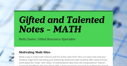 Gifted and Talented Notes - MATH