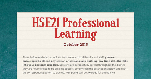 HSE21 Professional Learning