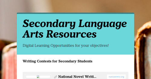 Secondary Language Arts Resources