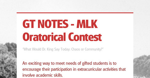 GT NOTES - MLK Oratorical Contest