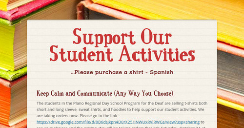 Support Our Student Activities