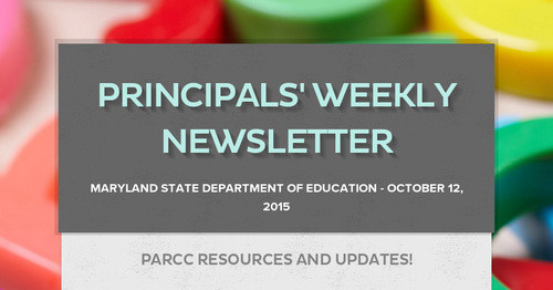 Principals' Weekly Newsletter