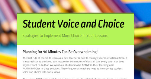 Student Voice and Choice