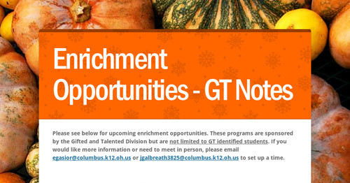 Enrichment Opportunities - GT Notes