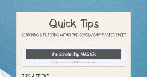 Scholarship MASTER User Guide