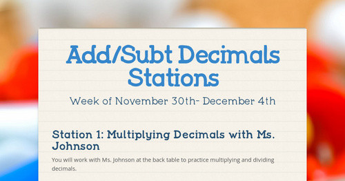 Add/Subt Decimals Stations