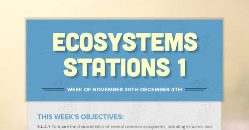 Ecosystems Stations 1