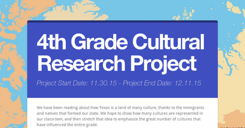 4th Grade Cultural Research Project