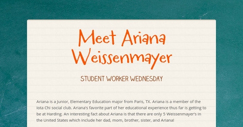 Meet Ariana Weissenmayer