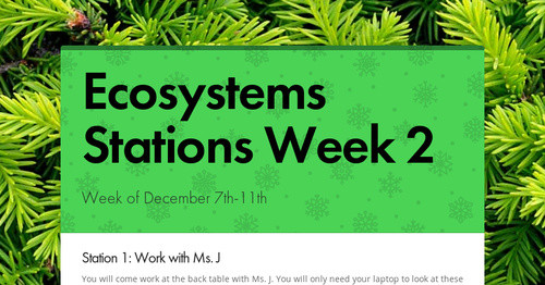 Ecosystems Stations Week 2