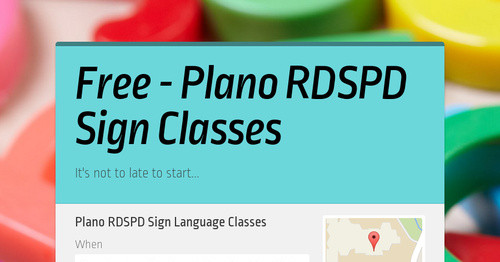 Free - Plano RDSPD Sign Classes
