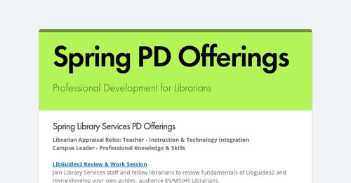 Spring PD Offerings