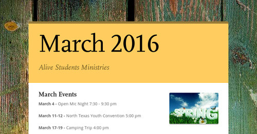 March Events         2016
