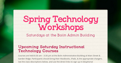 Spring Technology Workshops