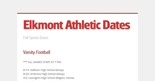 Elkmont Athletic Dates
