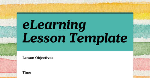 eLearning Lesson Template