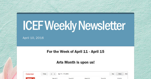 ICEF Weekly Newsletter