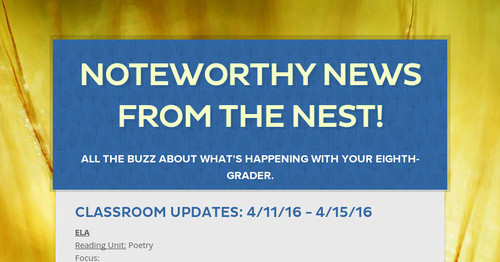 Noteworthy News from the Nest!