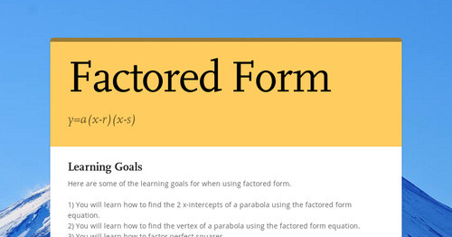 Factored Form