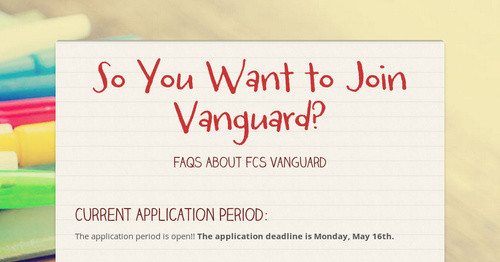 So You Want to Join Vanguard?