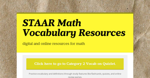 STAAR Math Vocabulary Resources