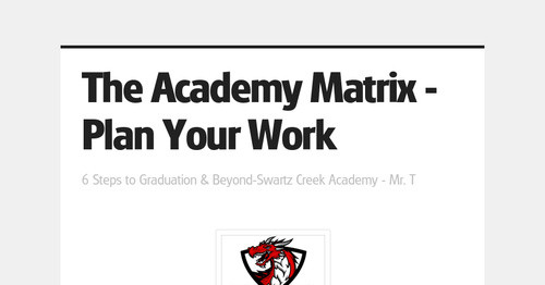 The Academy Matrix - Plan Your Work