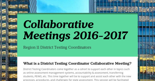 Collaborative Meetings 2016-2017